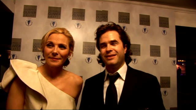 Laurence Olivier Awards 2010 Kim Cattrall and Rupert Goold interview SOT Thrilled to be recognised / great night for Royal Court theatre / discussing...