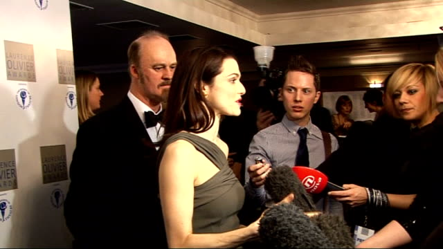 laurence olivier awards 2010 rachel weisz interview sot probably more in a comedy you can get sense of whether audience enjoying production / theatre... - rachel weisz stock videos & royalty-free footage