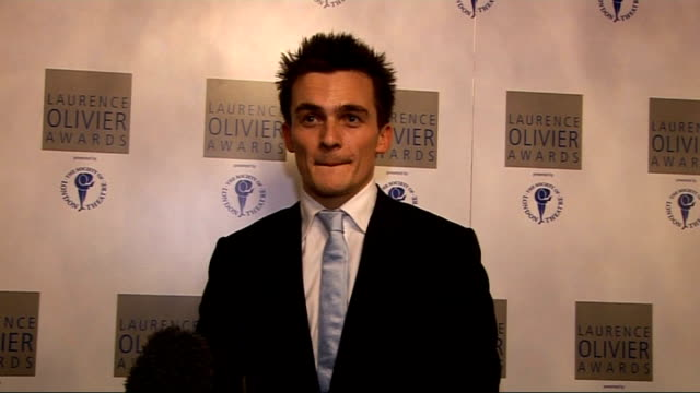Laurence Olivier Awards 2010 Rupert Friend interview SOT Very exciting / boundaries between film and theatre work broken down / discussing...