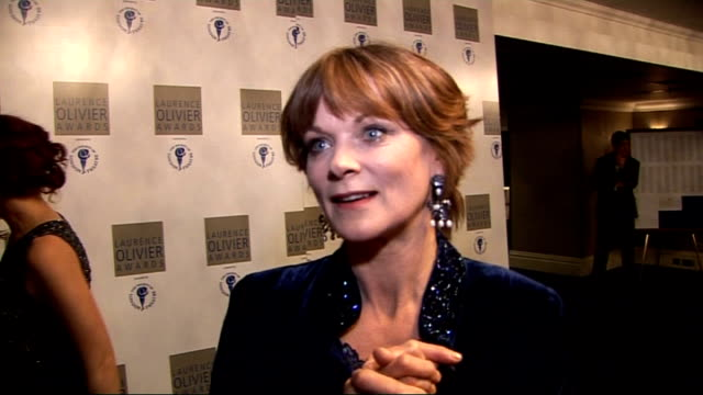 Laurence Olivier Awards 2010 Samantha Bond interview SOT Wealth of new writing in West End / should talk about investing in theatre rather than...
