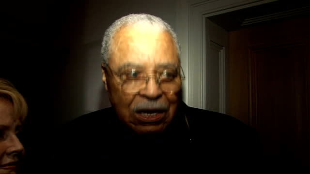 Laurence Olivier Awards nominees luncheon James Earl Jones interview SOT Introduces his wife Cecilia / On the quality of his voice / On being proud...