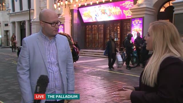 london palladium to perform pantomime over christmas england london london palladium ext reporter to camera michael harrison interview sot - itv london tonight stock videos & royalty-free footage