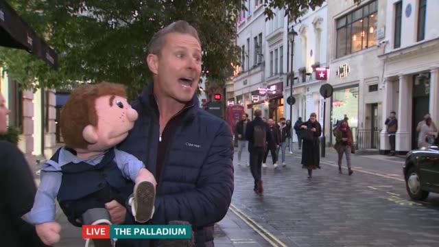 london palladium to perform pantomime over christmas england london london palladium ext michael harrison interview sot paul zerdin interview sot - itv london tonight stock videos & royalty-free footage