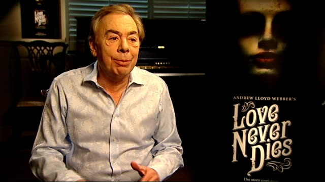 'love never dies' musical interview with andrew lloyd webber england london int andrew lloyd webber interview sot i don't think this is a follow up /... - das phantom der oper stock-videos und b-roll-filmmaterial