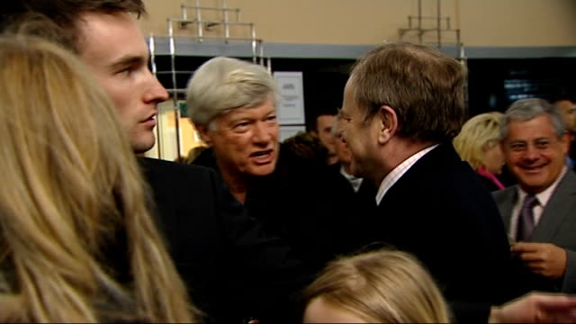 'love never dies' musical opening night celebrity interviews sir terry wogan interview sot looking forward to seeing 'love never dies' / hope it... - terry wogan video stock e b–roll