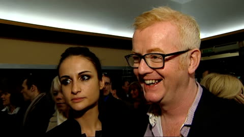 'love never dies' musical opening night: celebrity interviews; chris evans and wife natasha shishmanian speaking to press / chris evans and wife... - david frost broadcaster stock videos & royalty-free footage