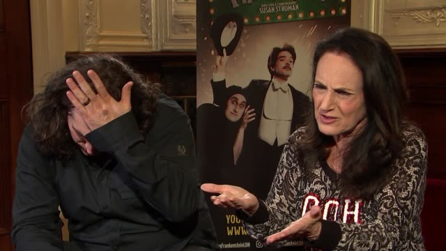 Mel Brooks' Young Frankenstein cast interview Ross Noble and Lesley Joseph interview SOT re the play / experience with Mel Brooks