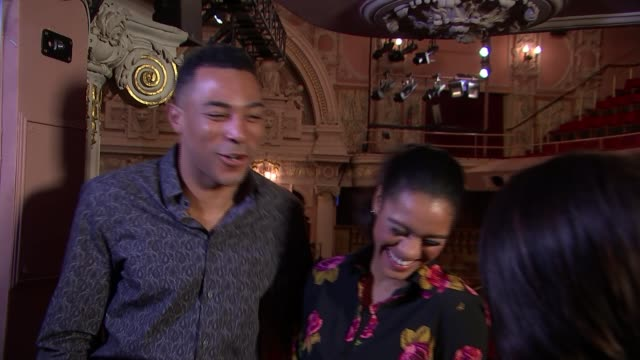 'Motown The Musical' INT Charl Brown and Lucy St Louis setup shot with reporter / interview SOT