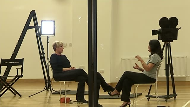 new Judy Garland musical starring her daughter Lorna Luft Lorna Luft seated with reporter during interview