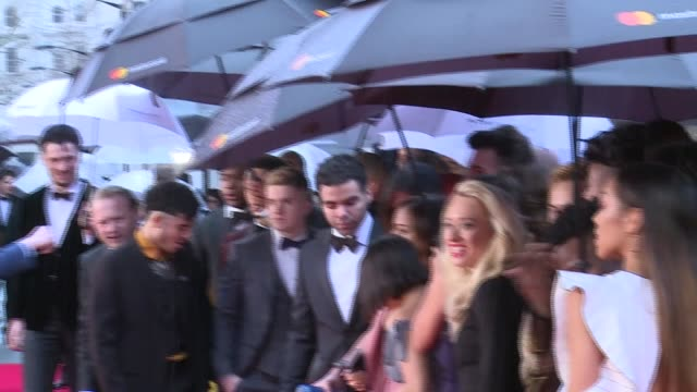 Olivier Awards 2018 red carpet and winners room ENGLAND London Kensington The Royal Albert Hall Cast of musical 'Hamilton' standing on the red carpet...