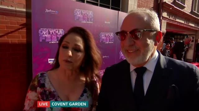 vídeos y material grabado en eventos de stock de on your feet musical about gloria estefan opens in london live england london ext gloria estefan and husband emilio estefan red carpet interview sot - emilio estefan
