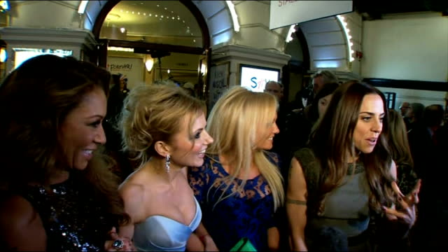 premiere of spice girls stage musical 'viva forever!': celebrity arrivals; england: london: piccadilly theatre: ext / night **beware flash... - married stock videos & royalty-free footage