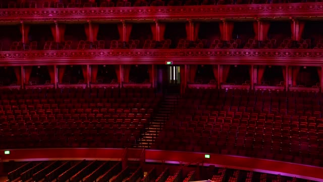 royal albert hall interior gvs; england: london: royal albert hall: int gvs royal albert hall auditorium, including chairs, stalls, boxes, stage,... - auditorium stock videos & royalty-free footage