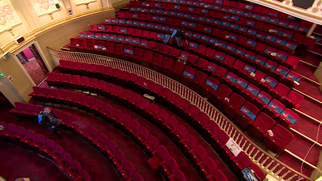 theatre royal in windsor getting fogged and disinfected between performances of the pantomine cinderella during the coronavirus pandemic - シンデレラ点の映像素材/bロール