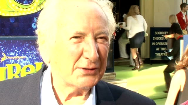 'shrek the musical' premiere arrivals and interviews michael winner red carpet interview sot haven't seen shrek film but like silly shows/ on his new... - michael winner stock videos & royalty-free footage