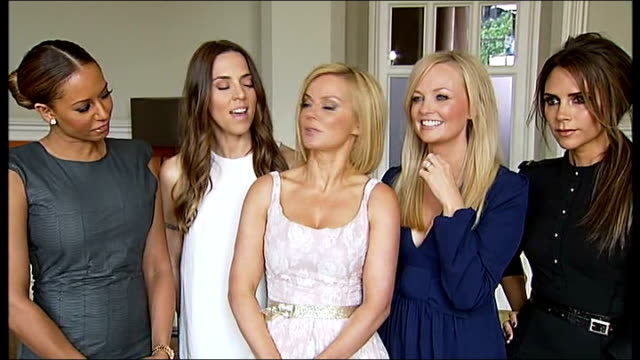 spice girls launch their new west end musical england london st pancras hotel int spice girls group interview sot spice girls standing on stage at... - 2012 stock videos & royalty-free footage