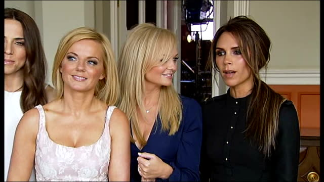 spice girls launch their new west end musical spice girls group interview victoria beckham sot on song mama having new meaning now they are all... - spice girls stock videos & royalty-free footage