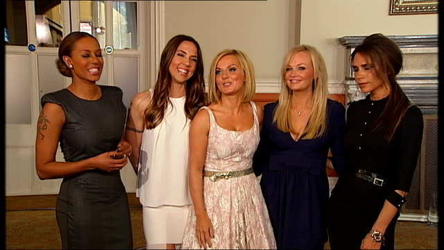 spice girls launch their new west end musical st pancras hotel int spice girls group interview sot - スパイスガールズ点の映像素材/bロール
