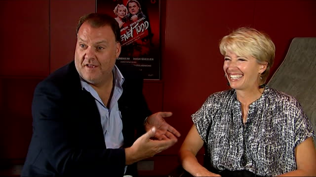 vídeos y material grabado en eventos de stock de 'sweeney todd' musical press conference and interviews; emma thompson and bryn terfel interview sot - bryn terfel