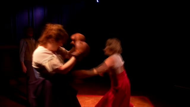 'the sweet science of bruising' tells story of victorian women's boxing; england: london: southwark playhouse: int various of actresses in rehearsal... - boxing women's stock videos & royalty-free footage