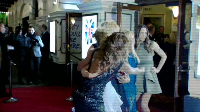 'viva forever' musical to close; - r11121202 england: london: piccadilly theatre: ext / night **beware flash photography** spice girls at premiere of... - spice girls stock videos & royalty-free footage