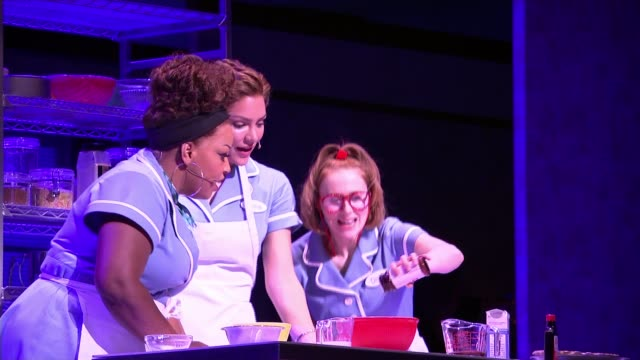 'waitress' musical preparing to open in west end england london adelphi theatre int various of cast of musical 'waitress' performing song and dance... - adelphi theatre stock videos & royalty-free footage