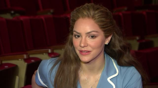 'waitress' musical preparing to open in west end england london adelphi theatre int katharine mcphee interview sot - adelphi theatre stock videos & royalty-free footage