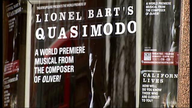world premiere of lionel bart's 'quasimodo' at king's head islington king's head theatre ext theatre poster for world premiere of 'qasimodo' 'house... - ライオネル・バート点の映像素材/bロール