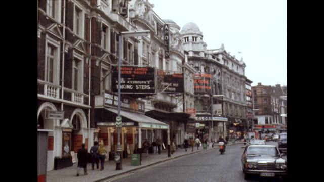 theatres on shaftesbury avenue, london; 1980 - western script stock videos & royalty-free footage