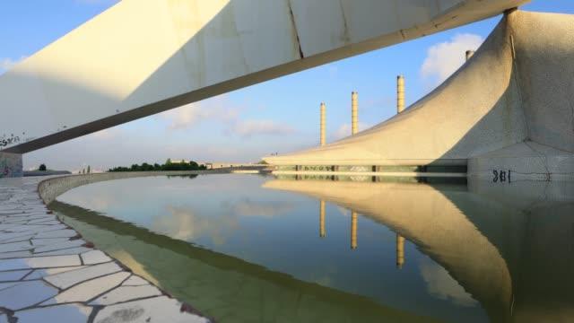 thebarcelona olympic park in barcelona, spain - kulturen stock-videos und b-roll-filmmaterial
