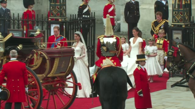 Their Royal Highnesses Prince William Duke of Cambridge and Catherine Duchess of Cambridge carriage departure at the Assorted Royal Wedding Footage...
