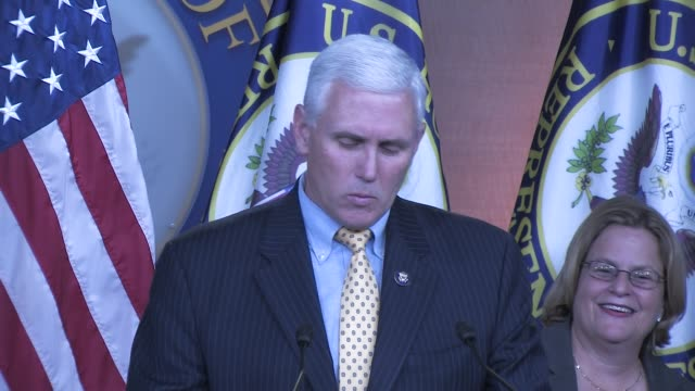 Then Representative Mike Pence participates in a press conference on Iran and sanctions