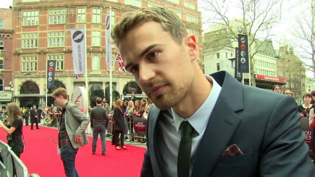 theo james on motherly advice and diversity at 'divergent' uk film premiere at odeon leicester square on march 30, 2014 in london, england. - premiere stock videos & royalty-free footage