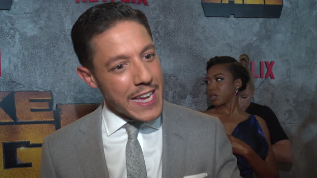 interview – theo rossi on why it's important for us to watch a character like luke cage on screen right now and what he hopes young people will be... - edison ballroom stock videos & royalty-free footage
