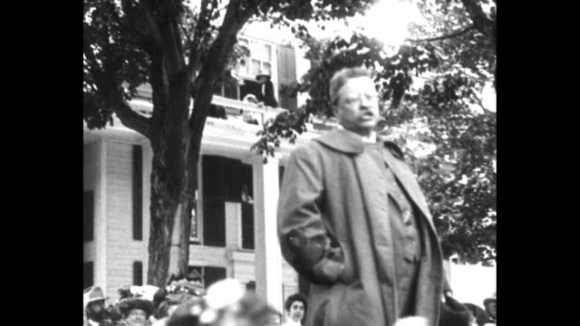 theodore roosevelt giving an energetic speech from back of open automobile he waves a pointed finger as he faces camera / note exact year not known... - theodore roosevelt us president stock videos & royalty-free footage