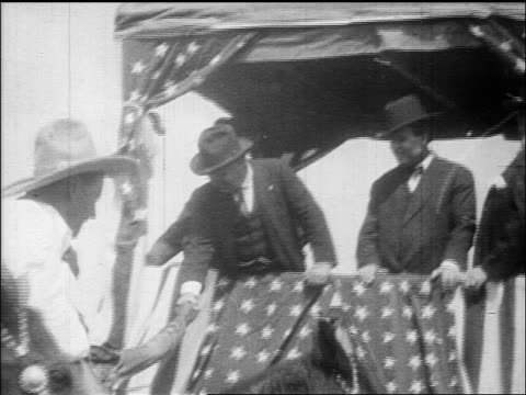 theodore roosevelt on platform shaking hands with crowd at rally / documentary - theodore roosevelt us president stock videos & royalty-free footage