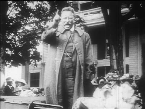 theodore roosevelt pointing finger talking to crowd / documentary - theodore roosevelt us president stock videos & royalty-free footage