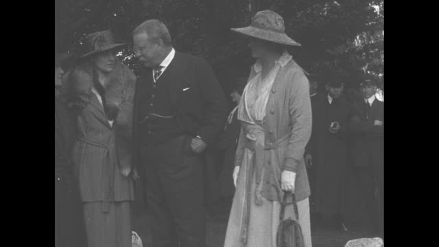 theodore roosevelt shaking hands with man in reception line and talking to him during event at his sagamore hill home kicking off the third liberty... - military camp stock videos & royalty-free footage