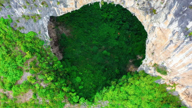 there is a huge cave in the virgin forest - rock formation stock videos & royalty-free footage