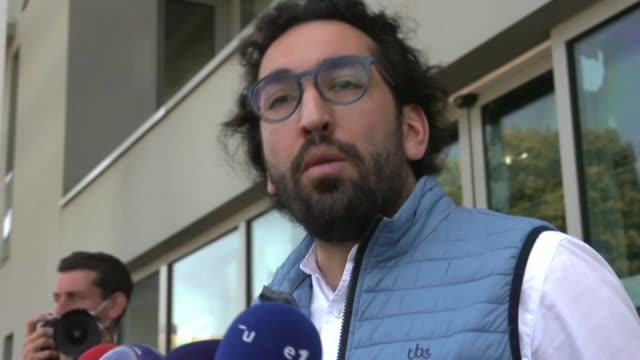 """""""there is no element that directly connects my client to the cathedral fire,"""" said quentin chabert in front of the police station where he is about... - nantes stock videos & royalty-free footage"""