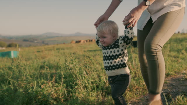 there is no limit on room to run on a farm - first steps stock videos & royalty-free footage