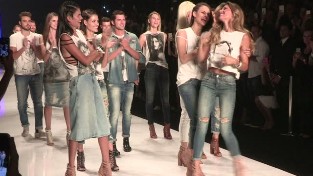 there were tears hugs and a standing ovation as supermodel gisele bundchen took to the catwalk one last time on her home turf in brazil on wednesday - zolla video stock e b–roll