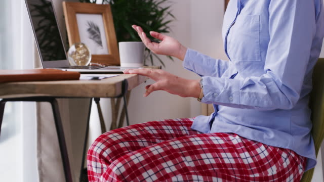 there's no stressing about what to wear when you work from home - pyjamas stock videos & royalty-free footage