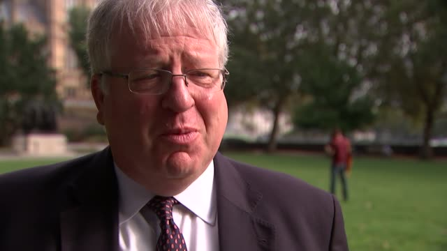 theresa may accused of being disloyal to david cameron by former communications chief westminster ext patrick mcloughlin mp interview sot - itv weekend evening news点の映像素材/bロール