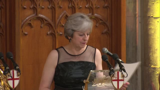 Theresa May accuses Russia of spreading fake news and 'meddling' in elections ENGLAND London Guildhall Lord Mayor's Banquet INT Theresa May MP...