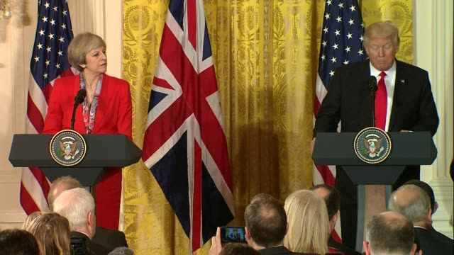 theresa may and donald trump joint press conference at white house usa washington dc the white house int theresa may mp and donald trump arriving at... - thank you stock videos and b-roll footage