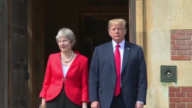 theresa may and donald trump meet at the prime minister's country retreat of chequers - may stock videos & royalty-free footage