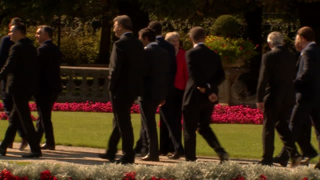 theresa may and european leaders at the salzburg eu summit - theresa may stock videos & royalty-free footage