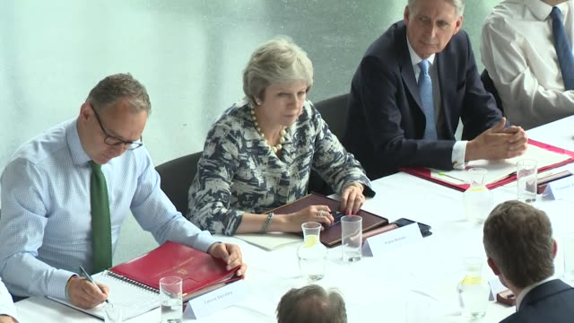 theresa may and her cabinet holding a meeting during the great exhibition of the north - jeremy heywood stock videos & royalty-free footage