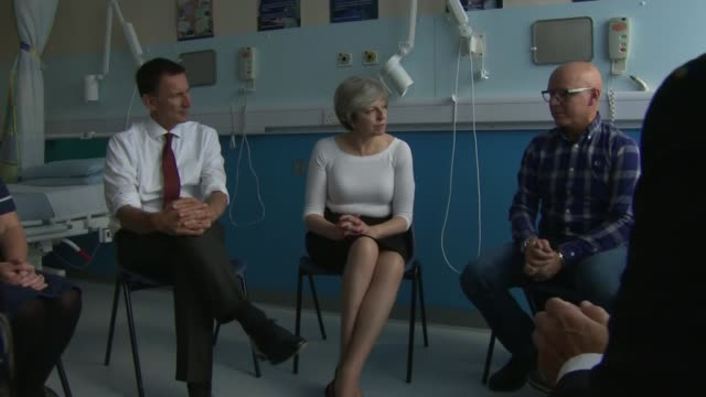 Theresa May and Jeremy Hunt meet transplant patients at Royal Liverpool Hospital ENGLAND Liverpool Royal Liverpool Hospital INT Theresa May MP and...